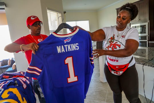 When Sammy Watkins was first drafted into the NFL this was the Bills jersey he was given. Sammy Watkins, wide receiver for the Kansas City Chiefs, has very proud parents, James McMiller, his stepfather, and Nicole McMiller, his mother. They will head over to Miami to watch Sammy in the Super Bowl on Sunday.