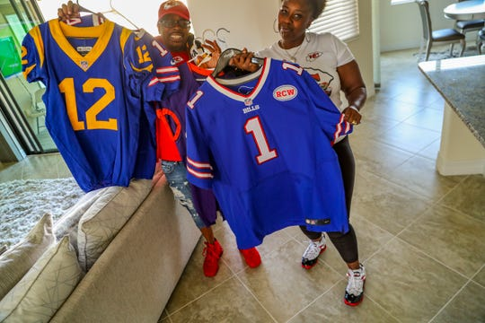 Some of the different jerseys from Watkins football career. Sammy Watkins, wide receiver for the Kansas City Chiefs, has very proud parents, James McMiller, his stepfather, and Nicole McMiller, his mother. They will head over to Miami to watch Sammy in the Super Bowl on Sunday.