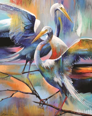"""This year's ArtFest Fort Myers poster and T-shirt features a painting by Naples artist Timothy Parker. It's called """"Twin Egrets."""""""