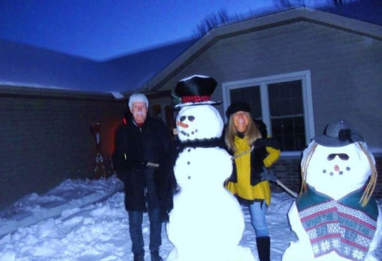 Each year Dennis and Linda Hemauer build snowmen in their South Park Avenue front yard. The process of building the snowmen can take up to two and a half hours to build depending on their complexity, Linda Hemauer said.