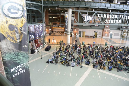 More than 200 arrived at Lambeau Field Dec. 18, 2017, so they could line up to get autographs from Green Bay Packers quarterback Aaron Rodgers. The Packers annually host autograph signings during the Christmas season to raise money for Salvation Army. Rodgers did not sign autographs in 2019.