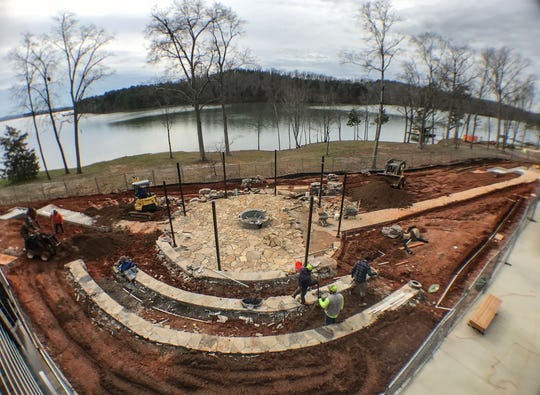 Construction for the outdoor pit area, seen in a wide angle view photo, in its finishing stages in at the Andy Quattlebaum Outdoor Education Center of the Clemson University Campus Recreation Center, YMCA Circle, Seneca in January 2020.