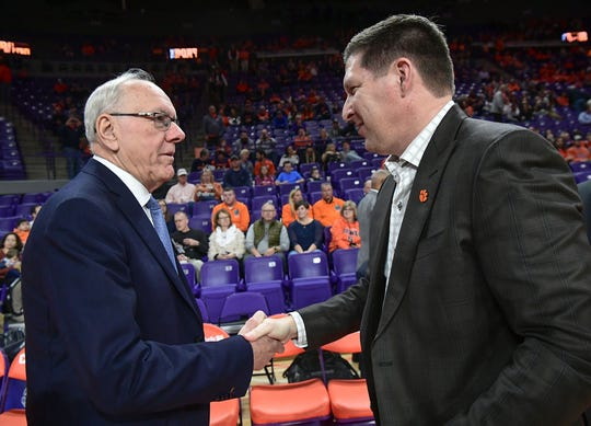 Syracuse Head Coach Jim Boeheim and Clemson Head Coach Brad Brownell shake hands before the game against at Littlejohn Coliseum Tuesday, January 28, 2020.