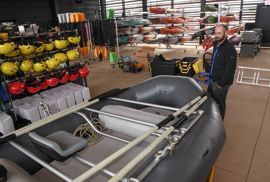 Robert Taylor, Director of Campus Recreation, looks at items available for checkout and rent inside the Andy Quattlebaum Outdoor Education Center of the Clemson University Campus Recreation Center, YMCA Circle, Seneca in January 2020.