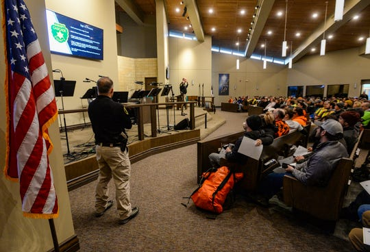 Roughly 170 volunteers fill the pews at Faith Lutheran Church on Wednesday morning for an orientation meeting  with the Cascade County Sheriff's Office on searching for Amy Harding-Permann, who was reported missing on Sunday, January 26, 2020.