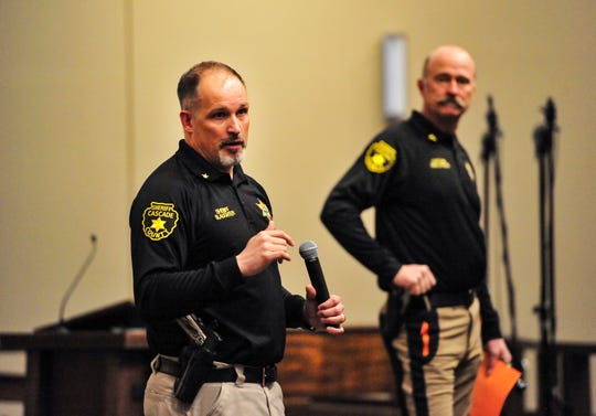 Cascade County Sheriff Jesse Slaughter delivers instructions to the roughly 170 volunteers who showed up to assist in the search for Amy Harding-Permann, Wednesday morning at Faith Lutheran Church.  Harding-Permann was reportedly last seen at her home at 343 Flood Road, south of Great Falls.