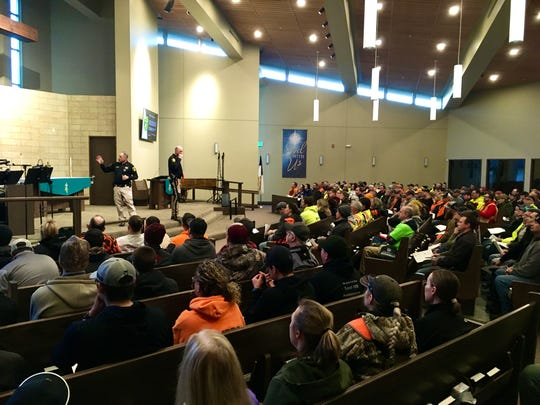 Cascade County Sheriff Jesse Slaughter gives an orientation talk to search volunteers Wednesday morning