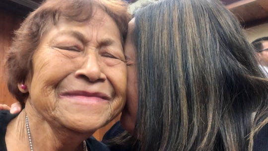 World War II survivor Florence Ninete Quitugua, 79, gets emotional shortly after she and 13 others received on Jan. 29 war reparation checks during an Adelup ceremony nearly 76 years after Guam was liberated from Japanese occupation. Two other survivors got war claims checks but weren't at the ceremony.