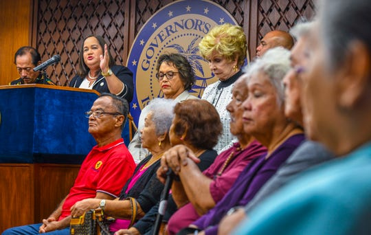 Legislative Speaker Tina Muña Barnes expresses her gratitude for the persistence and patience of Guam war survivors, in regards to war claims payments, during a presentation at Adelup on Wednesday, Jan. 29, 2020.