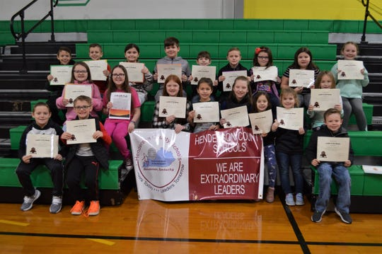 The Cairo Elementary School Leaders of the Month for January 2020 are, third row, from left, Cayden Settle, Dane Schwartz, Hayley Jo Hovey, Trevor Lott, Riley Harper, Hudson Bean, Ariel Buckreis, Ava Ray, and Adalyn Cornelius. Second row, from left, Kylie Hawk, Abigail Vaughn, Allison Duncan, Hazel Erbst, Madyson Goodson, Isla Zigler, Emerson Inge, and Rosealynn Scott. First row, from left Kanin Royster, Rylan Stone, and Conner Stone.