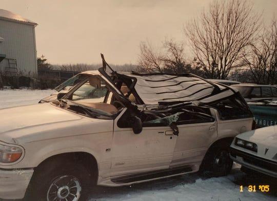 Kira Hudson's 2000 Ford Explorer after she crashed it in Noblesville on Jan. 31, 2005. The crash left her paralyzed.