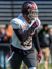 Jan 22, 2020; Mobile, Alabama, USA; North safety Jeremy Chinn of Southern Illinois (22) lines up during Senior Bowl practice at Ladd-Peebles Stadium. Vasha Hunt-USA TODAY Sports