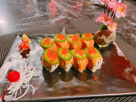 A double Sake Roll at Sumo Sushi & Ramen includes salmon, cucumber, mango and jalapeno.