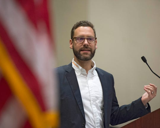 Tobias Hacker, Head Plant Operations Manager for Continental Tire in Clinton, speaks to attendees of the Greater Jackson Chamber Partnership's Vision 2020 event at the Jackson Convention Center on Wednesday at the Jackson Convention Complex. Wednesday, Jan. 29, 2020.