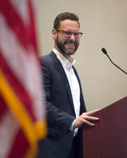 Tobias Hacker, Head Plant Operations Manager for Continental Tire in Clinton, speaks to attendees of the Greater Jackson Chamber Partnership's Vision 2020 event at the Jackson Convention Complex on Wednesday, Jan. 29, 2020.