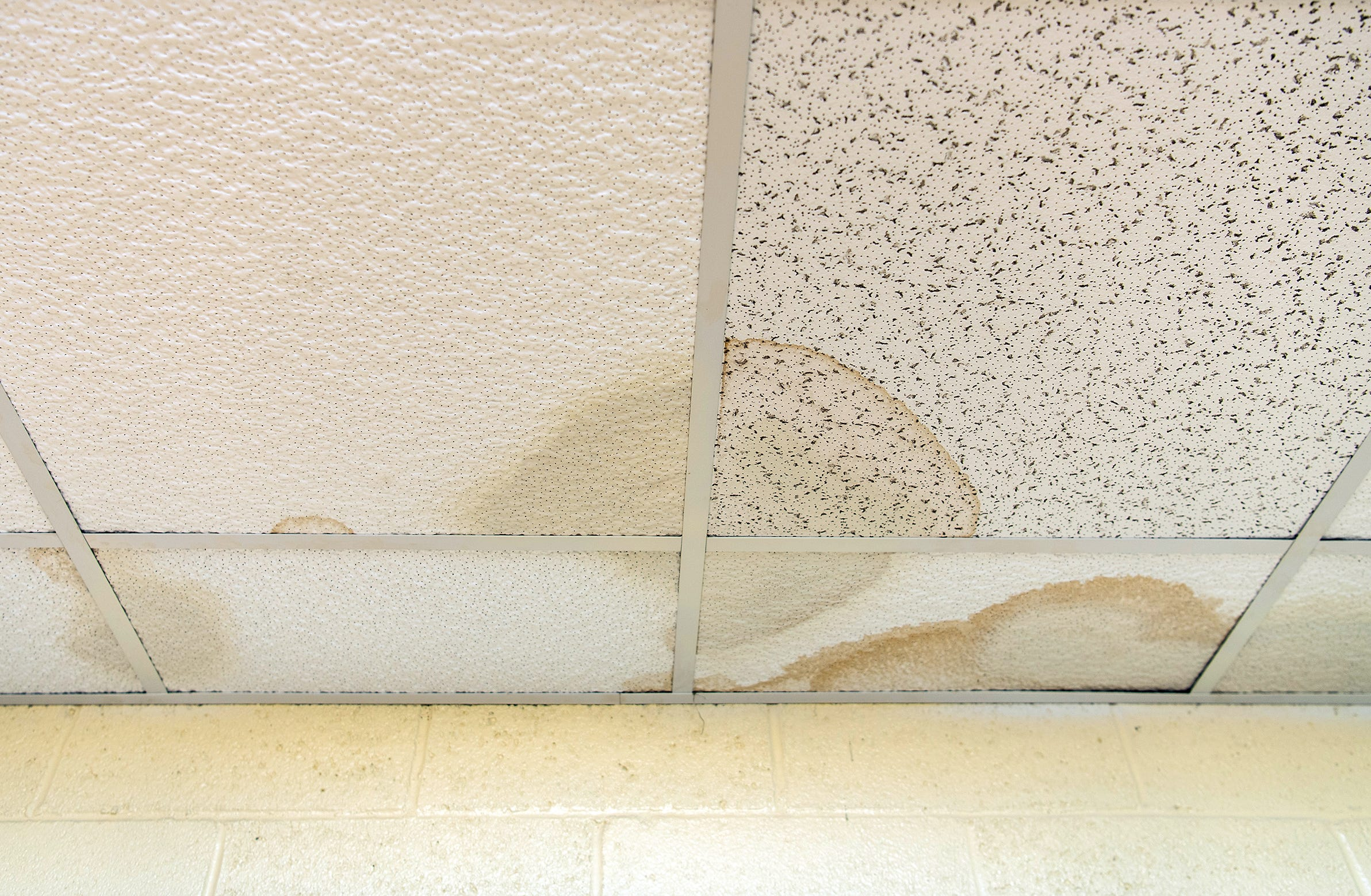 Ceiling tiles damaged by leaks inside the Williams-Sullivan Middle School in Durant, Miss.