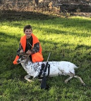 Max Adams, 8, of Brookhaven, harvested his first buck and it's an unusual piebald.