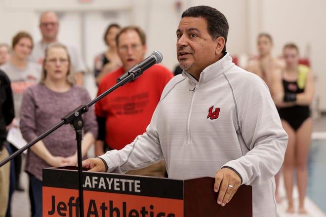 Lafayette Jeff athletics director Joe Hernandez speaks during a dedication ceremony for the new Lafayette Jeff Natatorium, Tuesday, Jan. 28, 2020 in Lafayette.