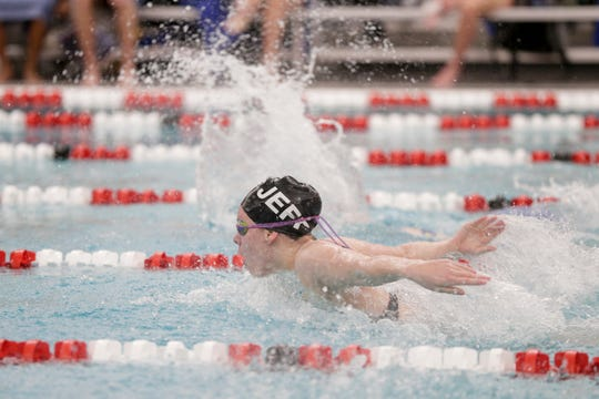 Lafayette Jeff swimmers compete in a race during an IHSAA swim meet against Crawfordsville, Tuesday, Jan. 28, 2020 in Lafayette.