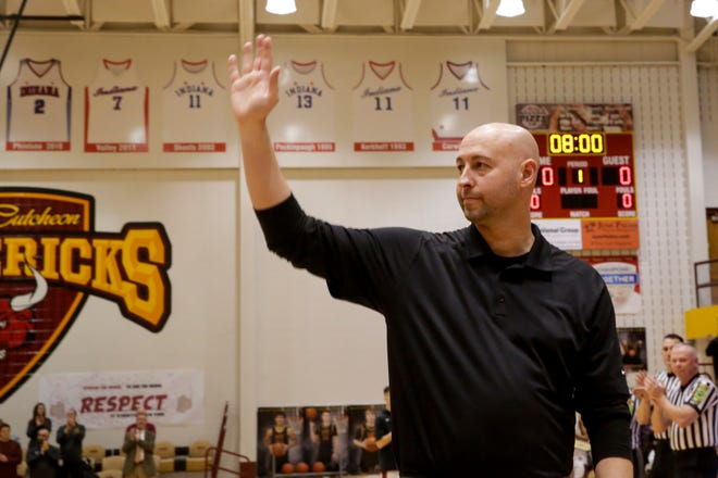 Clinton Prairie head coach Chad Peckinpaugh is recognized before the first quarter of an IHSAA boys basketball game, Tuesday, Jan. 28, 2020 in Lafayette.