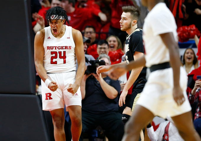 Jan 28, 2020; Piscataway, New Jersey, USA; Rutgers Scarlet Knights guard Ron Harper Jr. (24) reacts after scoring against the Purdue Boilermakers during the first half at Rutgers Athletic Center (RAC). Mandatory Credit: Noah K. Murray-USA TODAY Sports