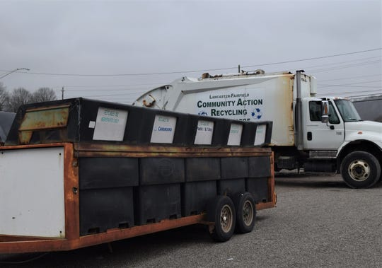 A Lancaster-Fairfield Community Action recycling trailer sits in the Recycling Center's parking lot on E Main Street. According to the agency's recycling and litter prevention director, the trailers are going to be phased out for more efficient methods at collection sites throughout the county.