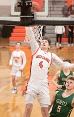 Northville's Zach Shoemaker dunks the ball for two of his game-high 14 points in a 40-28 loss to Howell on Tuesday, Jan. 28, 2020.