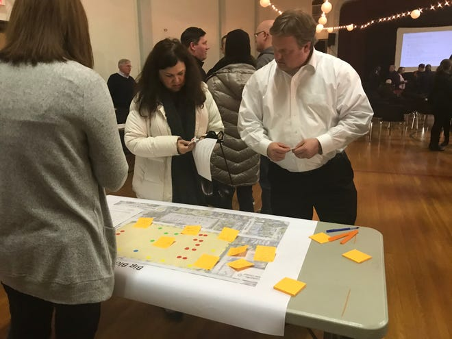 Attendees at a January 28, 2020 meeting to discuss the Paristown Pointe development put color-coded priorities on a map.