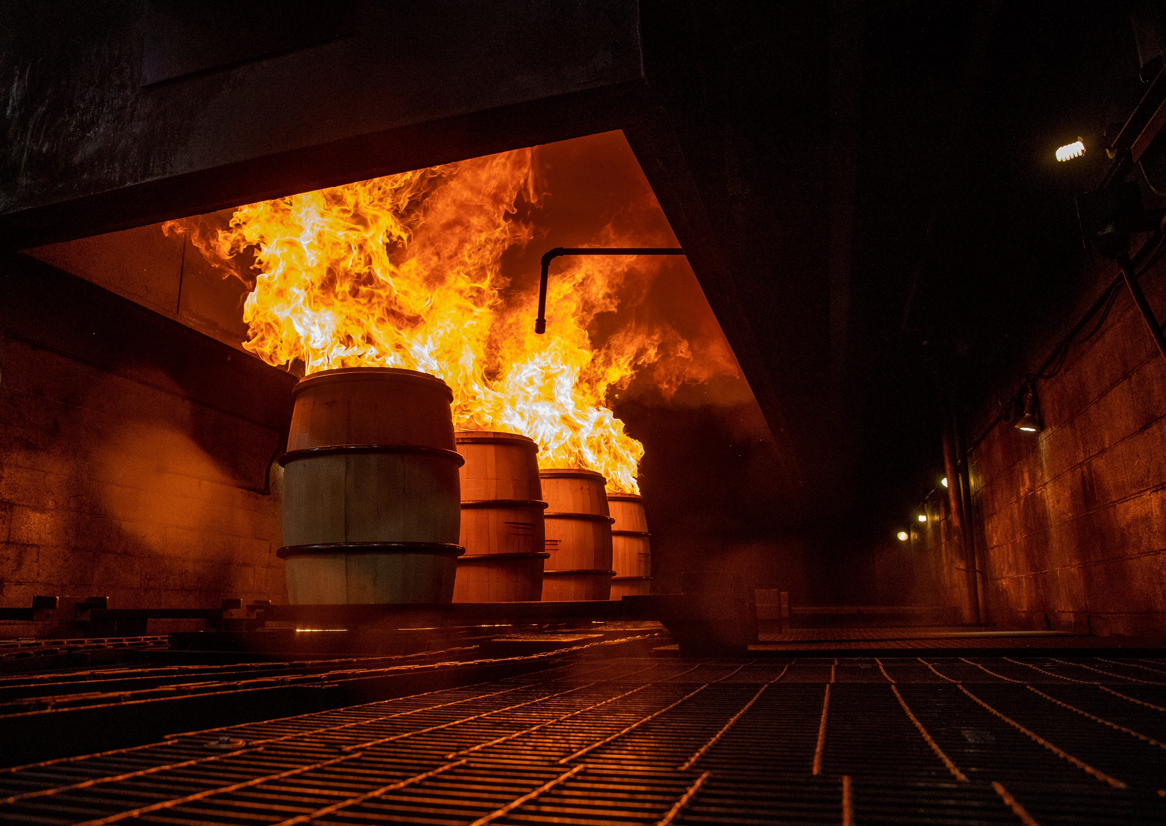 10:03 PMBourbon barrels are charred before being capped and shipped at the Brown-Forman Cooperage on Jan. 28, 2020