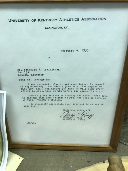 A letter from University of Kentucky basketball coach Adolph Rupp to a resident of Hanson. The letter is framed in the archives of Hanson City Hall.
