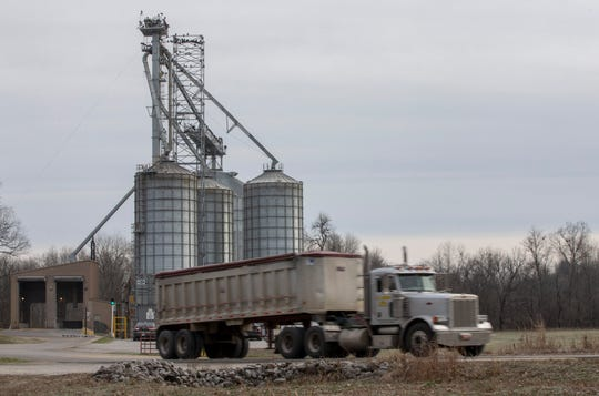 A truck pulls out of Consolidated Grain and Barge Inc.'s grain terminal in Brandenburg after dropping off a load of corn. The grain shipping business is scheduled to close following Nucor steel's deal to build a mill in the same area. Jan. 22, 2020
