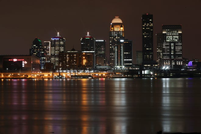 8:45 p.m.  The Louisville skyline pierces the night in a view from Clarksville, Ind., on Jan. 28, 2020.
