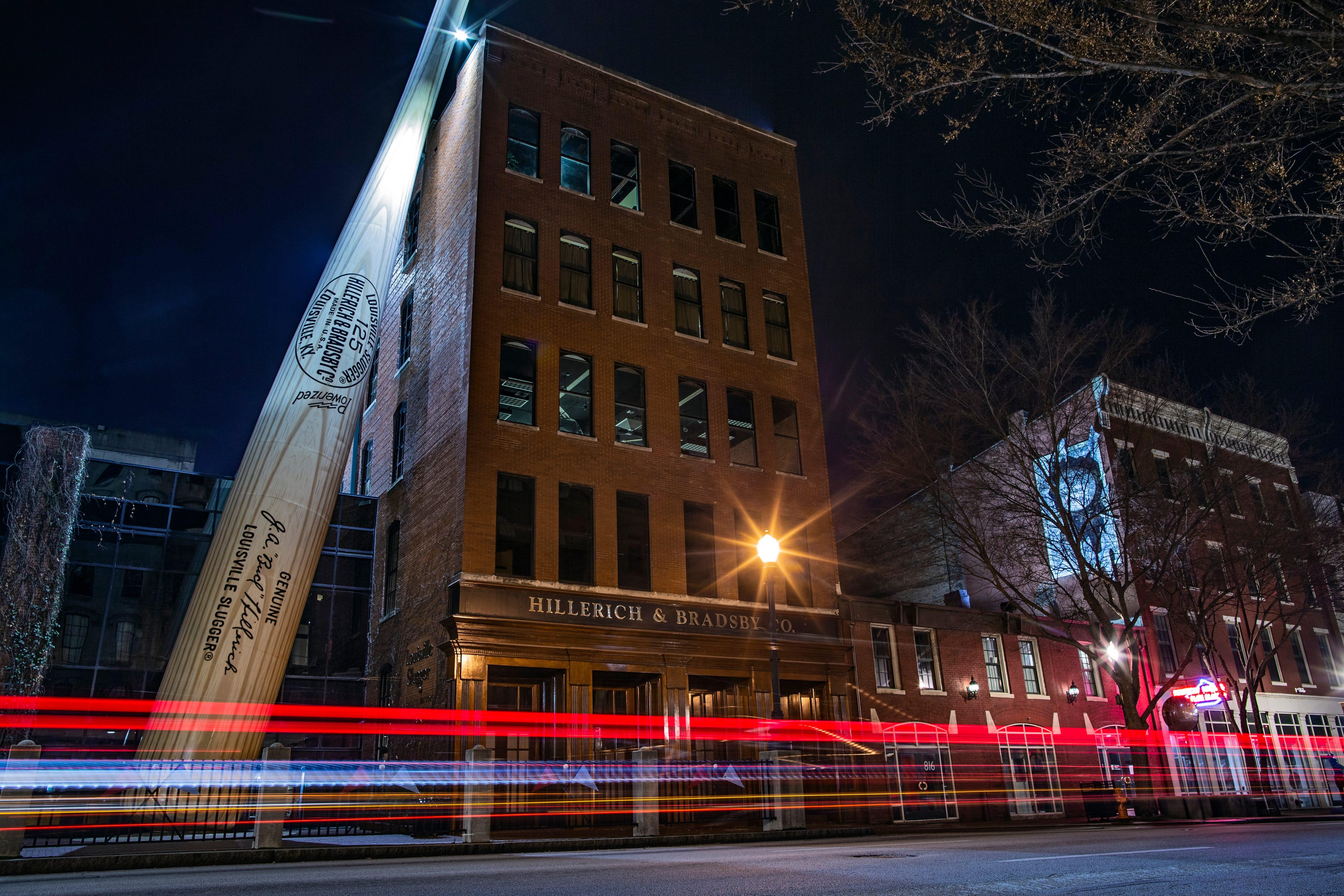 9:12 PMVehicles streak past outside the Louisville Slugger Museum on a quiet evening in downtown Louisville on Jan. 13, 2020.
