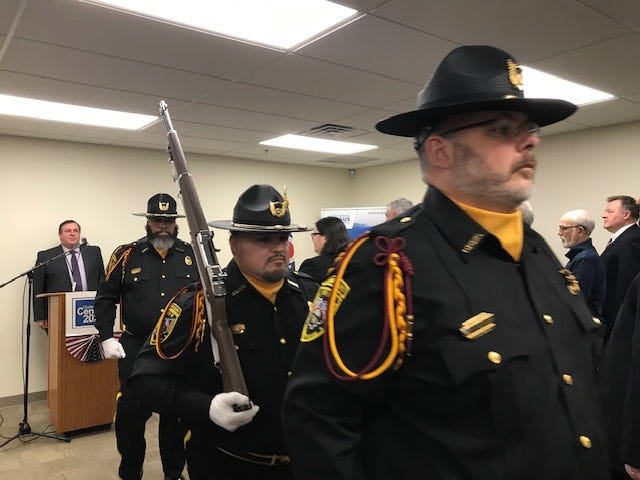 The Ohio Department of Rehabilitation and Corrections state Honor Guard posted the Colors Wednesday at the Area 2020 Census Office at 800 Park Avenue West.