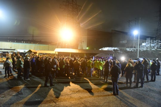 A parking lot outside AK Steel was filled with more than 100 community members Tuesday night as they gathered in support of Amy Fowler, who was severely burned Friday at the factory.