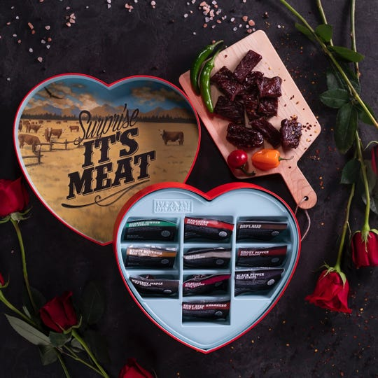 Man Crates Jerky Heart features 10 flavors of jerky.