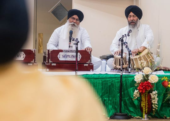Worship at the Mid South Sikh Sabha includes the singing of scripture from the Guru Granth Sahib, Sunday, Jan. 19, 2020, in Cordova, Tenn.
