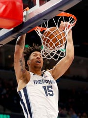 Grizzlies' Brandon Clarke (15) dunks the ball Tuesday, Jan. 28, 2020, during a game against the Nuggets at FedExForum in downtown Memphis.