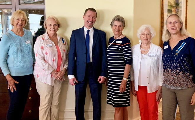 Marco's DAR welcomed Don Jarrell, of the U.S. Citizen and Immigration Services, who described how immigrants become citizens. From left, Susan Ediss, Joan Shields, Jarrell, Elinor Weiland, Betty Schuder and Janet Brooks.