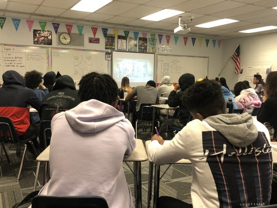 Students at Wauwatosa West High School sit in during Black Literature, a new class being taught at Wauwatosa West and East.