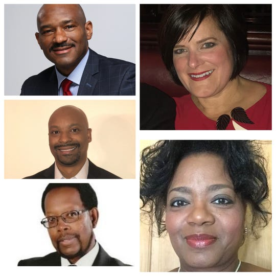 Five candidates are running for Brown Deer trustee in the Feb. 18 primary election. Pictured are (clockwise from top left) candidates Richmond Izard, Julie Cook Quirk (inc.), Alice Belcher, Amos Owens and Rob Cherry.
