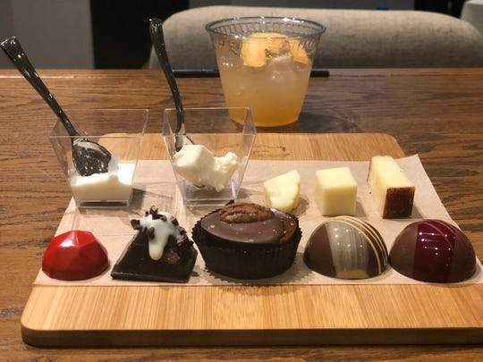 Chocolates created by Crystal Thomas paired with Bel Gioiosio cheeses for Kohler Food & Wine in October. Thomas created new chocolates for a cheese and beer pairing at In Celebration of Chocolate 2020.