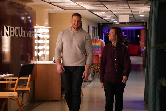 "Host J.J. Watt and Kyle Mooney chat during a promo backstage in Studio 8H on the set of ""Saturday Night Live"" on Jan. 28, 2020. Watt, the Pewaukee native and UW football star who's now a standout defensive end with the Houston Texans, is hosting ""SNL"" Feb. 1, the night before the Super Bowl."