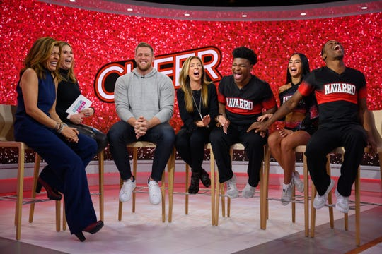 "J.J. Watt (third from left) crashes the set of ""Today"" during an interview with the some of the cast of Netflix's docuseries ""Cheer"" on Jan. 29, 2020. Pictured, from left: Hoda Kotb, Jenna Bush Hager, Watt, Monica Aldama, Jerry Harris, Gabi Butler and La'Darius Marshall."