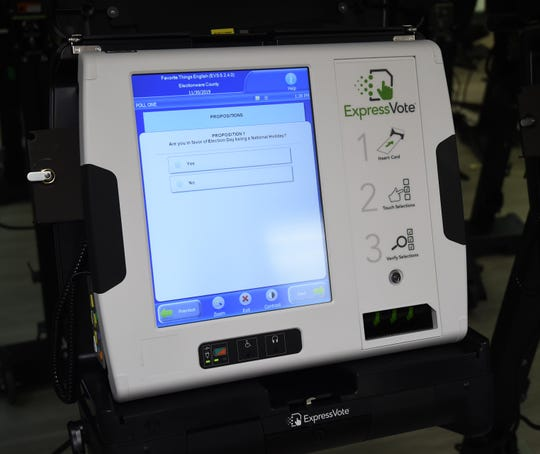 One of Baxter County's new ExpressVote voting machines displays a sample question Monday at the Baxter County Election Commission office.