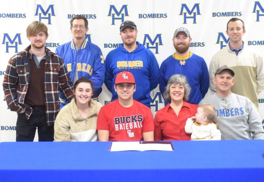 Mountain Home's Jim Strider (seated, second from left) signed a letter of intent Wednesday to play college baseball at UA-Rich Mountain. Pictured at the signing ceremony are (seated from left) his sister Hannah Slusser, his mother Lorri Strider, his nephew Jackson Slusser, his father Hank Strider, (standing) Logan Slusser, MHHS assistant coaches Phillip Taylor, Kyle Stephens and Blake Hendricks, and MHHS head baseball coach Tim Carver.