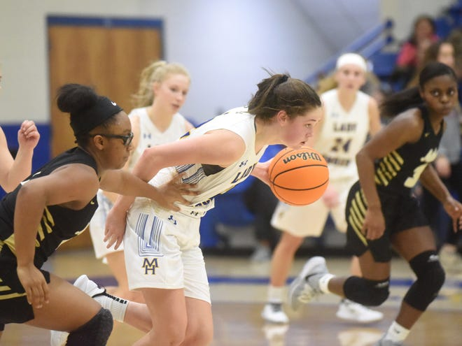 Mountain Home's Kate Gilbert pushes the ball upcourt against Nettleton during action last week. The Lady Bombers posted a 53-30 victory at Searcy on Tuesday night.