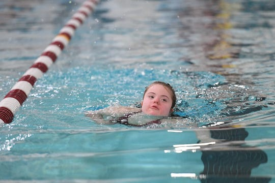 Morristown hosts Lakeland in their first Unified swim meet on Wednesday, January 29, 2020. Katie Schmitt, of Morristown, in the Mixed 200 SC Meter Freestyle Relay.