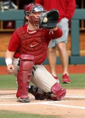 Alabama baseball catcher Sam Praytor takes a throw at the plate.