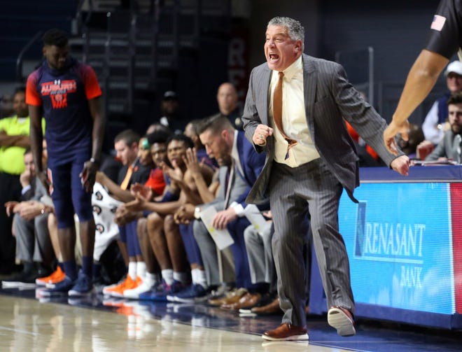 Auburn head coach Bruce Pearl reacts after a shot clock violation during the first half against Ole Miss on Jan. 28, 2020 in Oxford, MS.